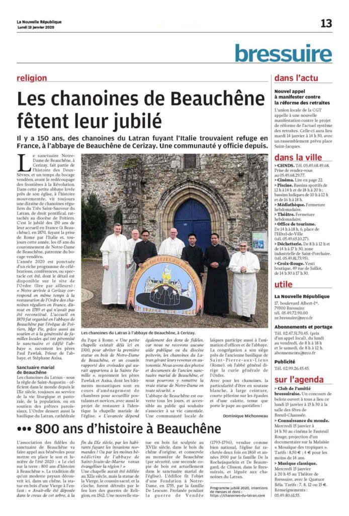 Jubilé des 150 ans Chanoines Beauchene Cerizay